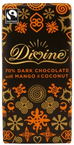 Divine 70% Dark Chocolate with Mango & Coconut | Source: Divine Chocolate