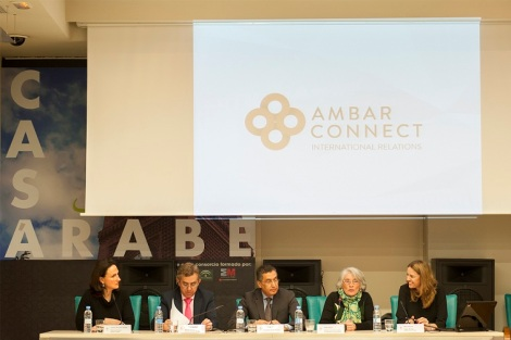 From left to right: Mrs. Carolina de Funes (Director of Ambar Connect), Mr. Luis Ángel Martín Martín (General Director of Trade of the Community of Madrid - Government of Madrid), Mr. Anwar El Mezwaghi (CEO of Ambar Connect), Mrs. Isabel Romero (CEO of the Spanish Halal Institute) and Mrs. Maria Salvador (Project Manager of ExpoHalal Spain)